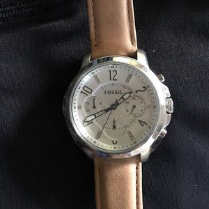 NWOT Fossil watch with beige suede band